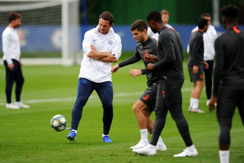 COBHAM, ENGLAND - SEPTEMBER 16: Frank Lampard, Manager of Chelsea and Christian Pulisic of Chelsea train during the Chelsea FC training session on the eve of the UEFA Champions League match between Chelsea FC and Valencia CF at Chelsea Training Ground on