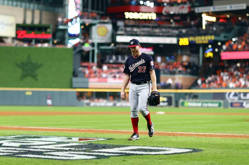 HOUSTON, TEXAS - OCTOBER 29: Stephen Strasburg #37 of the Washington Nationals is taken out of the game against the Houston Astros during the ninth inning in Game Six of the 2019 World Series at Minute Maid Park on October 29, 2019 in Houston, Texas. (Ph