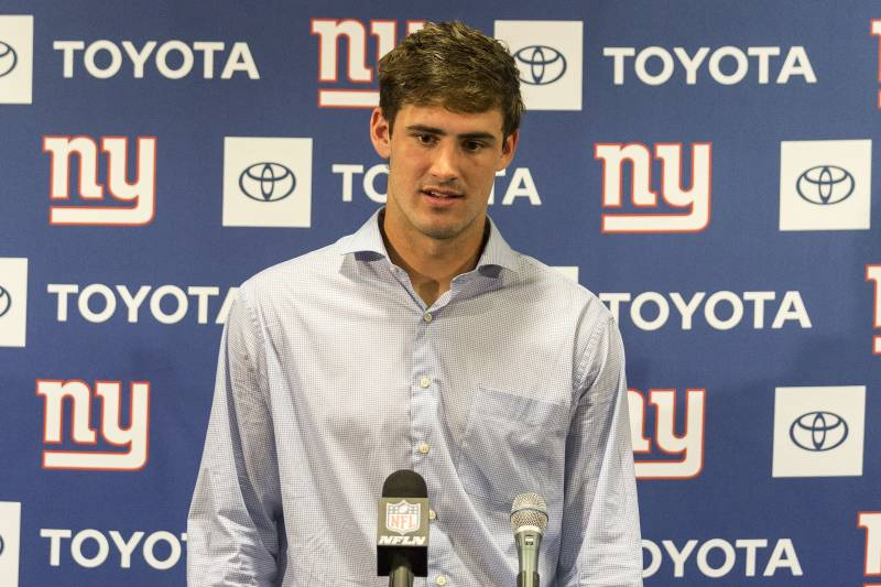 TAMPA, FL - SEPTEMBER 22: Quarterback Daniel Jones #8 of the New York Giants answers questions during the Post Press Conferencs fron the media after the game against the Tampa Bay Buccaneers at Raymond James Stadium on September 22, 2019 in Tampa, Florida