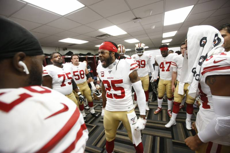 NEW ORLEANS, LA - DECEMBER 8: Richard Sherman #25 of the San Francisco 49ersfires up the team in the locker room prior to the game against the New Orleans Saints at the Mercedes-Benz Superdome on December 8, 2019 in New Orleans, Louisiana. The 49ers defea