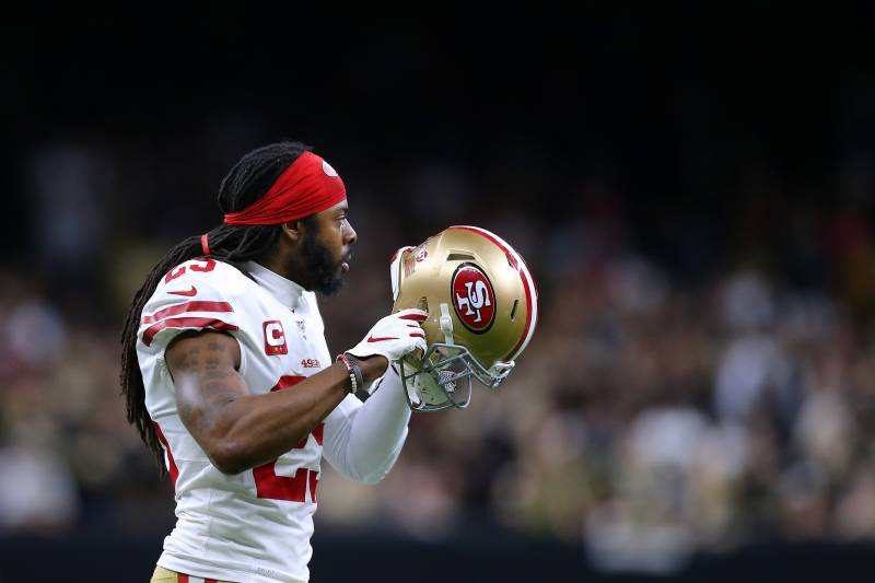 NEW ORLEANS, LOUISIANA - DECEMBER 08: Richard Sherman #25 of the San Francisco 49ers reacts against the New Orleans Saints during a game at the Mercedes Benz Superdome on December 08, 2019 in New Orleans, Louisiana. (Photo by Jonathan Bachman/Getty Images