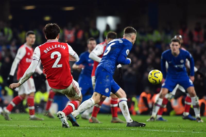 LONDON, ENGLAND - JANUARY 21: Arsenal's Hector Bellerin scores his side's second goal during the Premier League match between Chelsea FC and Arsenal FC at Stamford Bridge on January 21, 2020 in London, United Kingdom. (Photo by Ashley Western/MB Media/Get