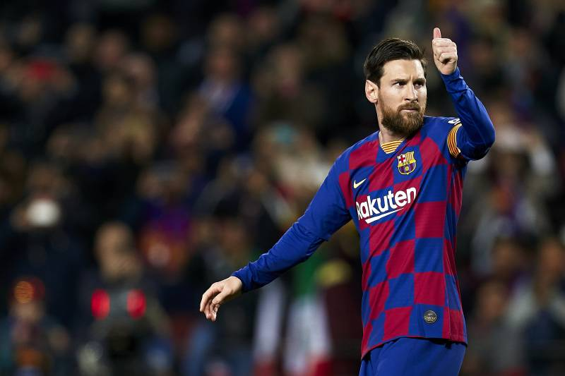 BARCELONA, SPAIN - MARCH 07: Lionel Messi of FC Barcelona celebrates his team's first goal during the Liga match between FC Barcelona and Real Sociedad at Camp Nou on March 07, 2020 in Barcelona, Spain. (Photo by Pedro Salado/Quality Sport Images/Getty Im