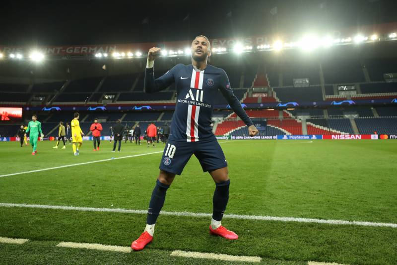 PARIS, FRANCE - MARCH 11: (FREE FOR EDITORIAL USE) In this handout image provided by UEFA, Neymar of Paris Saint-Germain celebrates victory after the UEFA Champions League round of 16 second leg match between Paris Saint-Germain and Borussia Dortmund at P