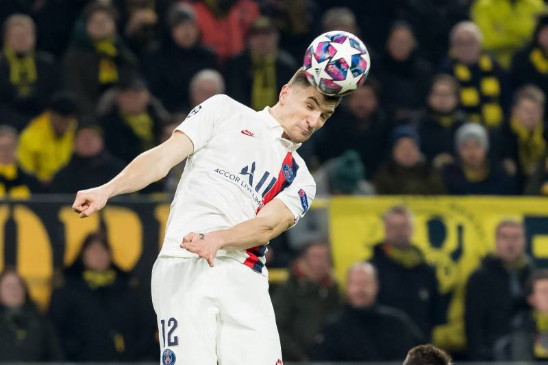 DORTMUND, GERMANY - FEBRUARY 18: (BILD ZEITUNG OUT) Thomas Meunier of Paris Saint-Germain controls the ball during the UEFA Champions League round of 16 first leg match between Borussia Dortmund and Paris Saint-Germain at Signal Iduna Park on February 18,