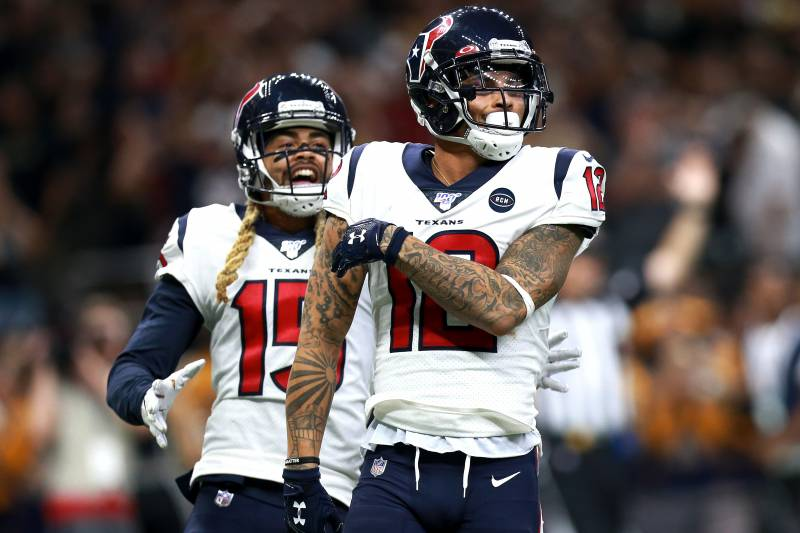 NEW ORLEANS, LOUISIANA - SEPTEMBER 09: Kenny Stills #12 of the Houston Texans celebrates with Will Fuller #15 of the Houston Texans after scoring a touchdwon pass against the New Orleans Saints during a NFL game at the Mercedes Benz Superdome on September