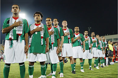 6851d0e7c Palestinian players pay tribute to their country before a FIFA-sanctioned  game.