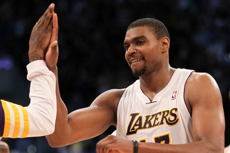 20c306dba79 Los Angeles Lakers Center Andrew Bynum Has Finally Arrived ...