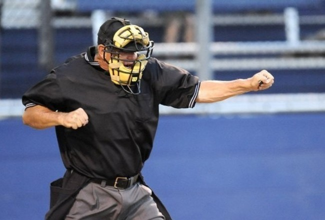 Image result for cartoon umpire calling an out at plate moving