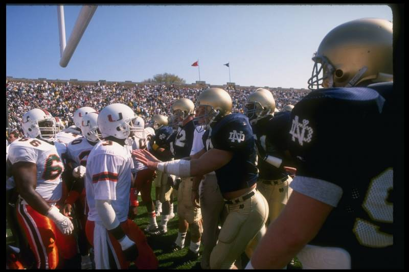 15 Oct 1988:  General view of a game between the Notre Dame Fighting Irish and the Miami Hurricanes at Notre Dame Stadium in South Bend, Indiana.  Notre Dame won the game, 31-30. Mandatory Credit: Jonathan Daniel  /Allsport