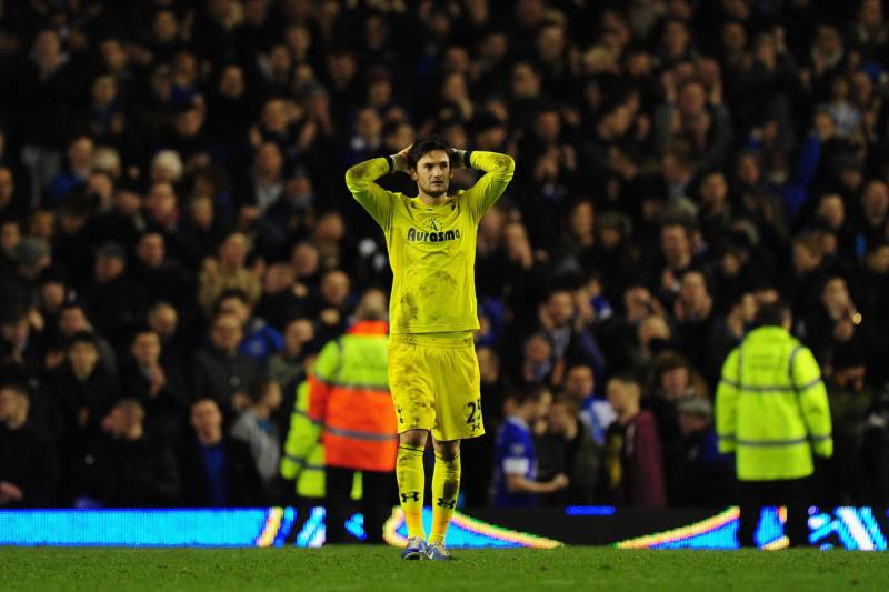 a97134aa4e7 A disappointed Hugo Lloris at Goodison Park during Spurs  2-1 loss to  Everton