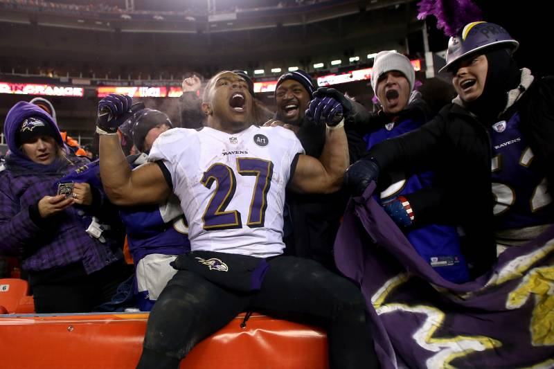 defac78950f DENVER, CO - JANUARY 12: Ray Rice #27 of the Baltimore Ravens celebrates