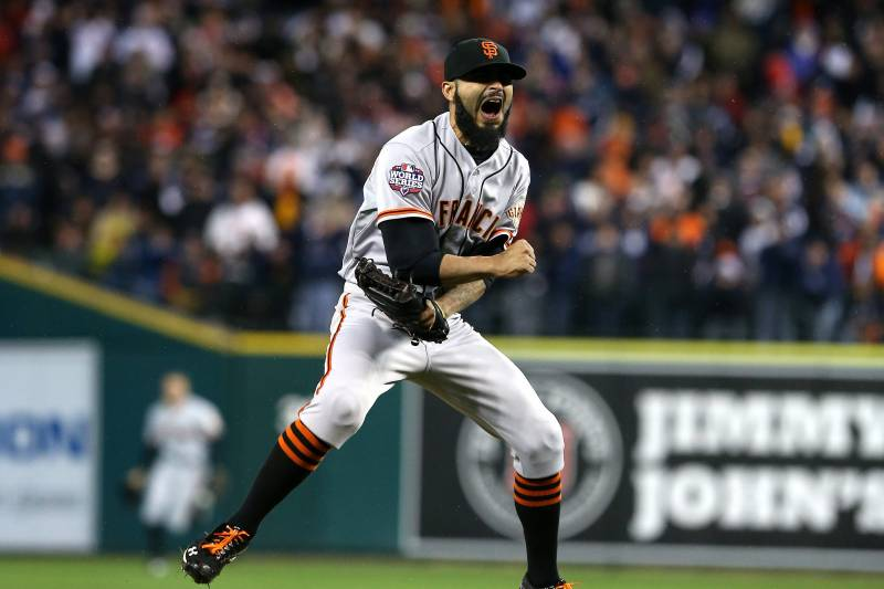 San Francisco Giants pitcher Sergio Romo closing a game during the World Series.
