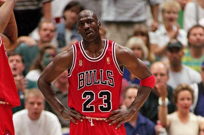 7d435731f86620 11 Jun 1997  Michael Jordan  23 of the Chicago Bulls stands on the court