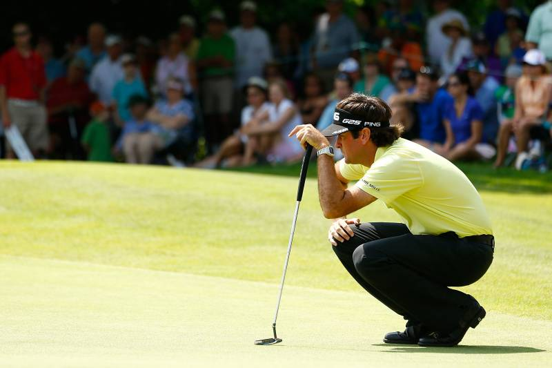 CROMWELL, CT- JUNE 22: Bubba Watson lines up his putt on the 5th