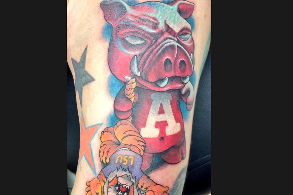 Arkansas Fan Gets Colorful Anti LSU Tattoo