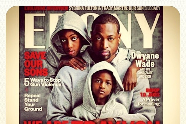brand new 2d22b abaeb Dwyane Wade and Kids Pose in Hoodies in Ebony Magazine to Honor Trayvon  Martin   Bleacher Report   Latest News, Videos and Highlights