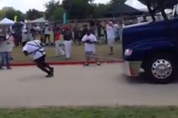 WWE Superstar Mark Henry Pulls Semi Truck at Charity Event