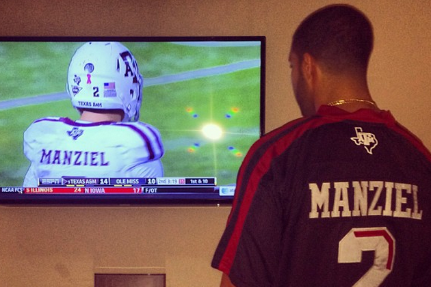 new style 672ed 14a68 Drake Is Watching Johnny Manziel in a Custom Jersey ...