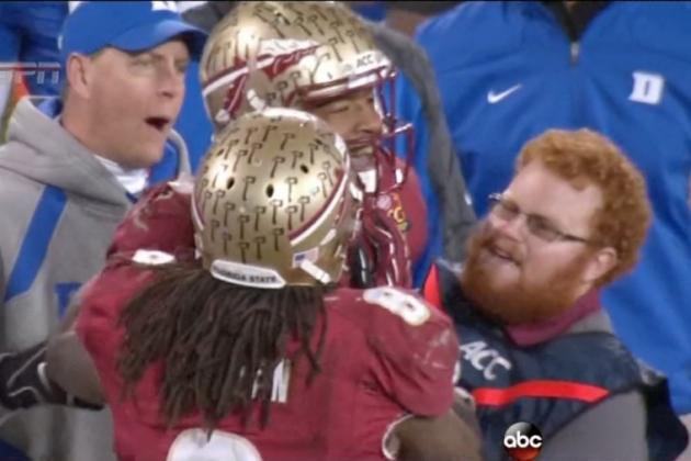fsu s ball boy red lightning is 1st to greet jameis winston after