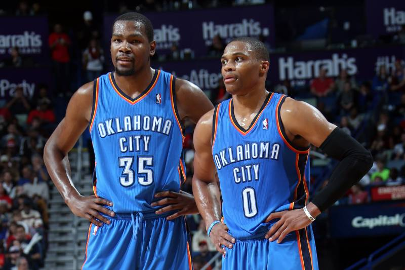 407e73bafc3 NEW ORLEANS, LA - DECEMBER 06: Kevin Durant #35 and Russell Westbrook #