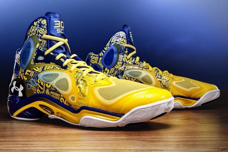 e1c95eac7173 Stephen Curry to Wear Under Armour Shoes with Season Stats All over Them