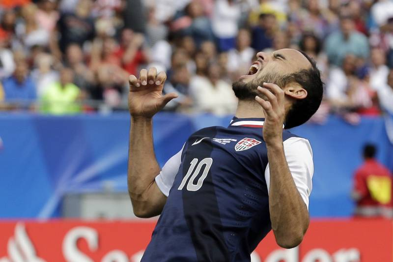 b9bcd94e93a United States  Landon Donovan reacts after missing a goal during second  half of the CONCACAF