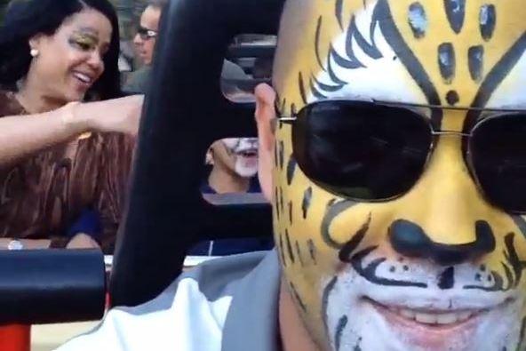 Carlos Beltran Has Fun At Amusement Park While Wearing Cat