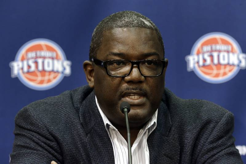 Detroit Pistons President of Basketball Operations Joe Dumars speaks at the NBA basketball team's training facility in Auburn Hills, Mich., Friday, June 28, 2013.  (AP Photo/Paul Sancya)