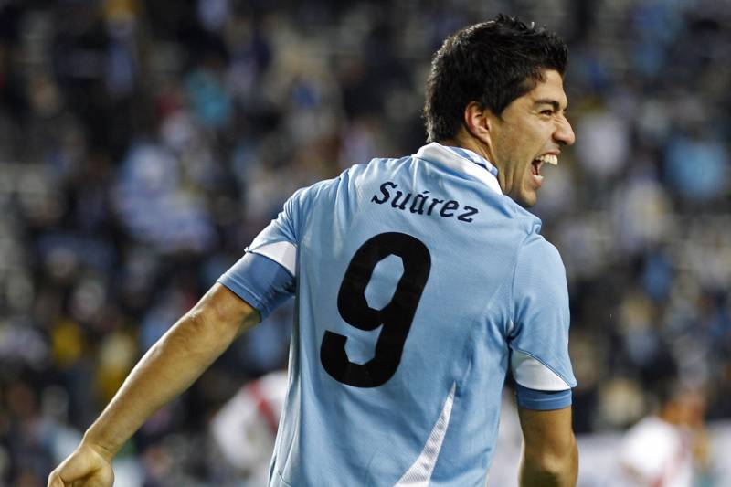 36b34761e69 Uruguay s Luis Suarez celebrates after scoring his team s first goal during  a Copa America semifinal soccer