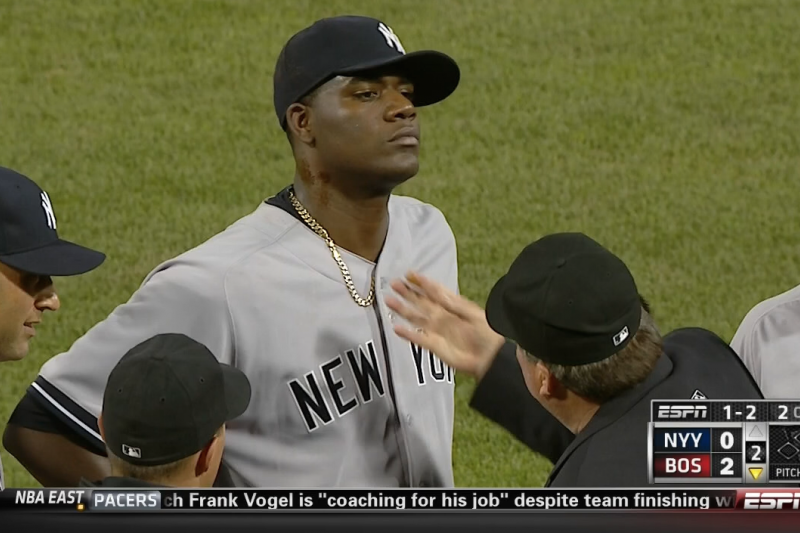 Yankees Pitcher Michael Pineda Ejected for Having Pine Tar on His ...