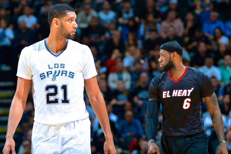 2321258ae1d Getty Images. All these years and championships later, Tim Duncan and LeBron  James ...