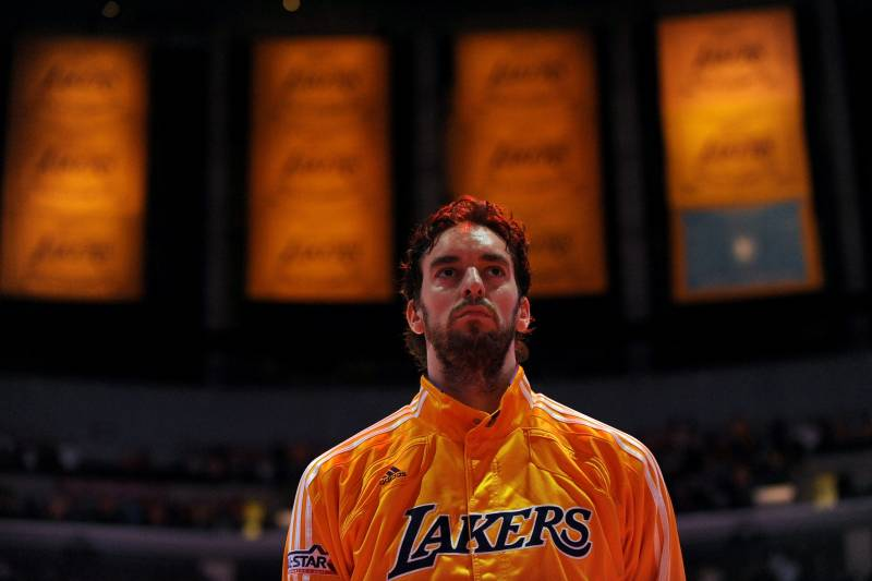 3e7100ce8 LOS ANGELES - NOVEMBER 2  Pau Gasol  16 of the Los Angeles Lakers stands