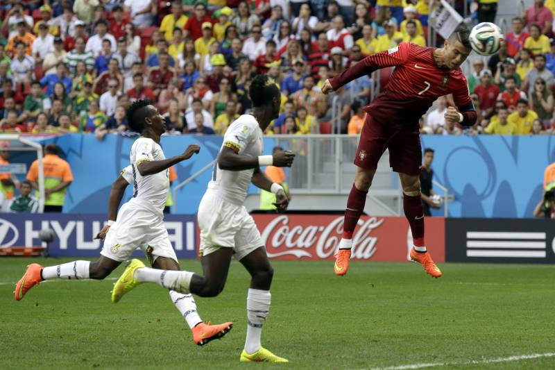 9066d7cd3 Portugal s Cristiano Ronaldo goes close with a header during the group G World  Cup soccer match