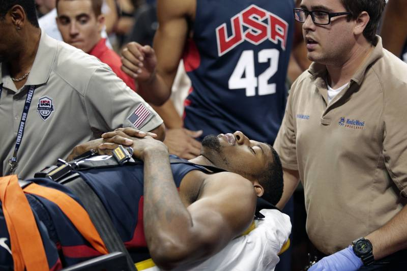 5e276ef2810 Indiana Pacers' Paul George is taken off the court after he was injured  during the