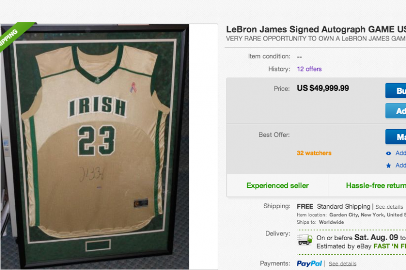 huge selection of e33cb f16cf Report: LeBron James Autographed High School Jersey on Sale ...