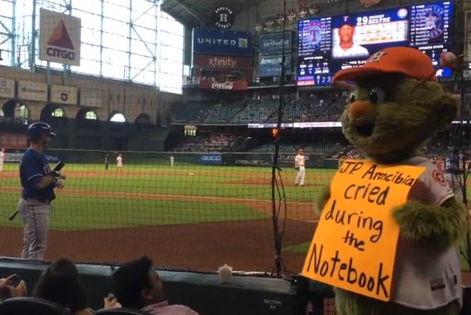 Astros Mascot >> Astros Mascot Orbit Trolls Texas Rangers Catcher J P