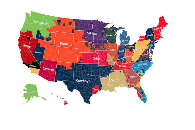 Facebook Data Shows NFL Fandom by Counties Throughout United States ...