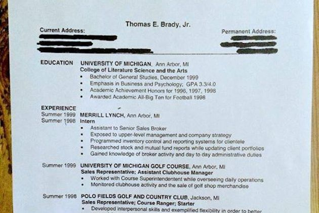 tom brady shows off professional resume from before he was drafted