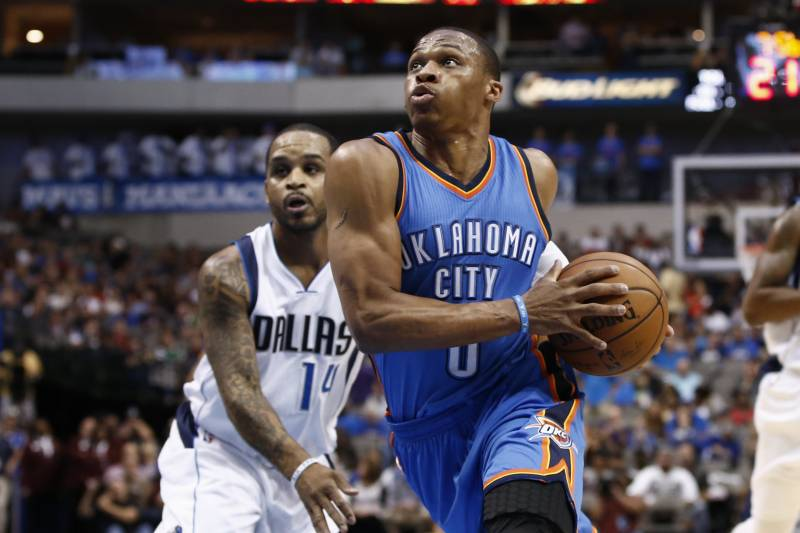4695e6608625 Oklahoma City Thunder guard Russell Westbrook (0) drives the ball to the  basket in