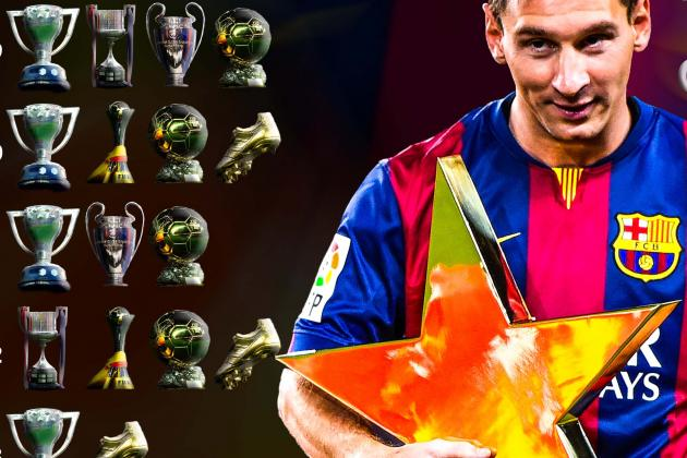 Lionel Messi Exploring Barcelona Forwards Trophy Cabinet 10 Years After Debut