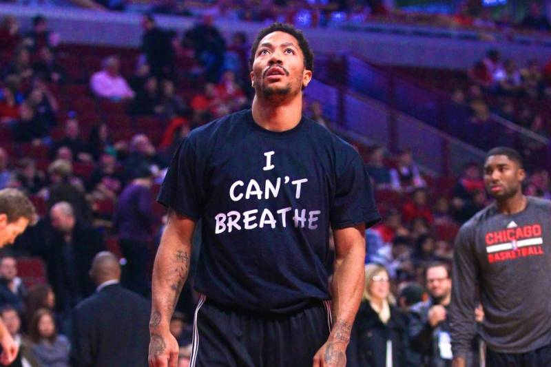 more photos 595ae b5978 Derrick Rose Opens Up About 'I Can't Breathe' Shirt ...