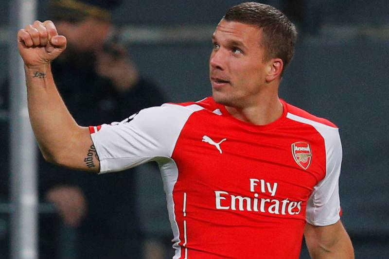 bb184057a Arsenal s Lukas Podolski Puts Signed Lionel Messi Shirt Up for Charity  Auction