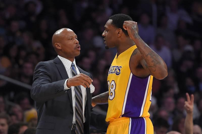 0154f13ad58 Los Angeles Lakers head coach Byron Scott, left, talks with forward Tarik  Black during