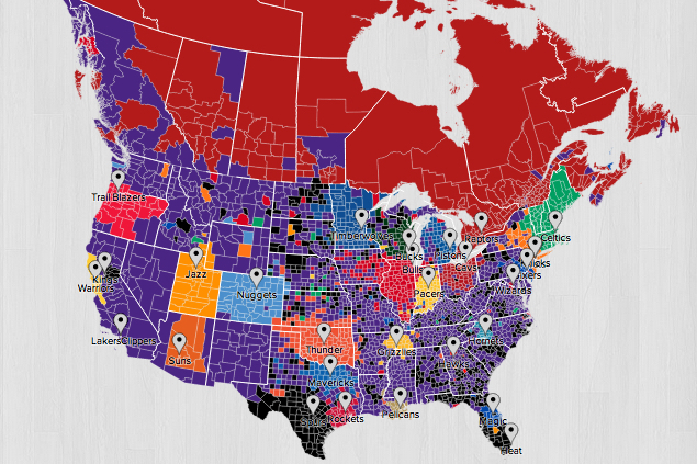 Nba Twitter Fan Follower Map Shows Lakers Are Most National
