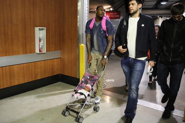 Lakers Rookie Tarik Black Pushes Doll In Stroller Wears