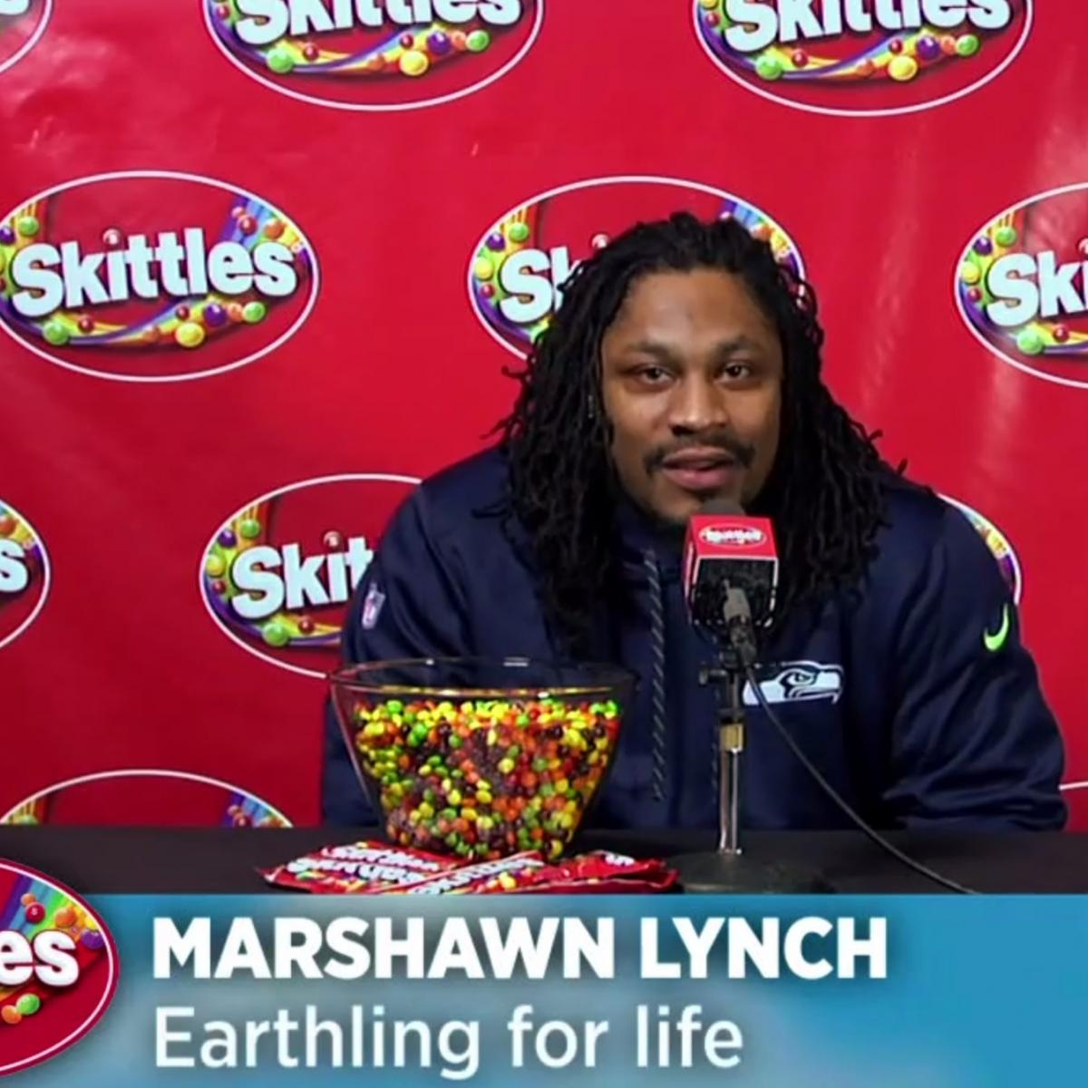 Marshawn Lynch Finally Talks To The Media In Skittles