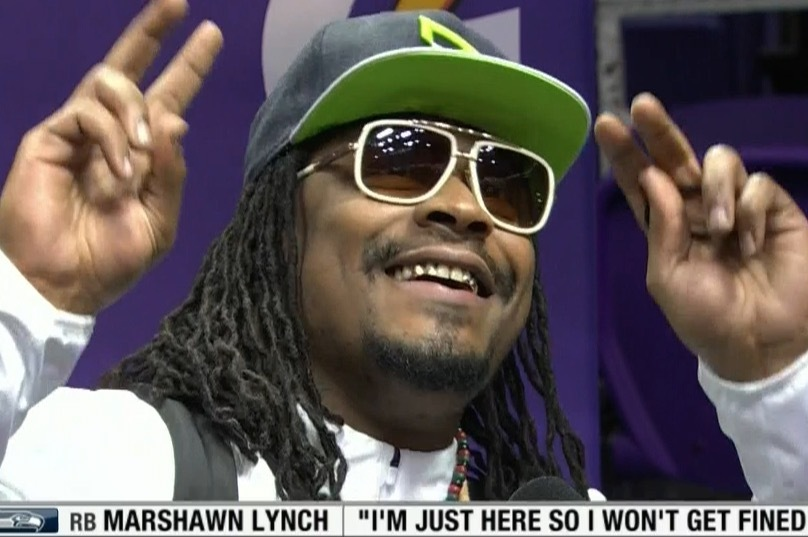 Marshawn Lynch at Super Bowl Media Day: 'I'm Here so I Won't Get Fined' |  Bleacher Report | Latest News, Videos and Highlights