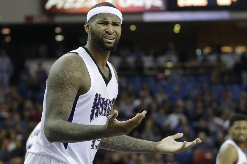 b71739cca1f Sacramento Kings center DeMarcus Cousins questions a foul call during the  second half of an NBA