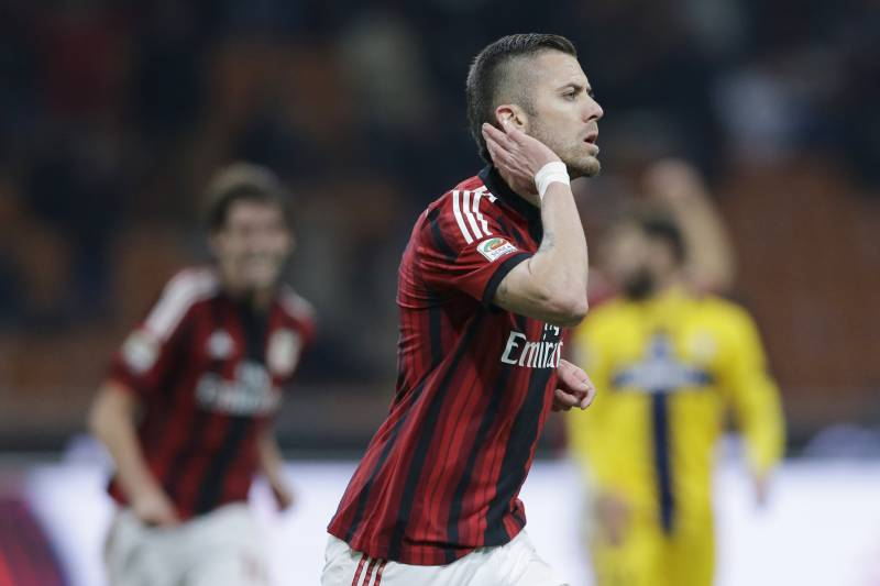 1f8986bb0 AC Milan s Jeremy Menez celebrates after scoring during a Serie A soccer  match between AC Milan
